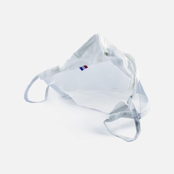 Vue de l'arrière du masque inclusif transparent pour adulte