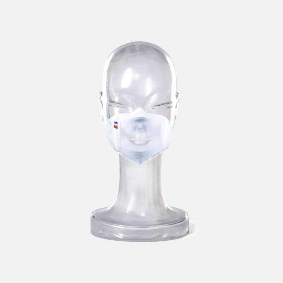 Masque inclusif transparent sur mannequin enfant